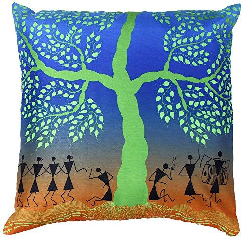 45x45 Cushion Cover - Warli Tribal Art - Decorative Throw Pillow Covers 45cm x 45cm Zipper - Blue Green Faux Silk 18x18 inch Pillowcase for Couch, Sofa, Ottoman, Lounge Chair, Rocking Chairs (Lounge Und Ottoman Chair)