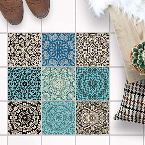 Fliesen Mosaik [ Fliesen Folie für Boden ] - Sticker Aufkleber Folie für Bodenfliesen - Bad oder Küche I Fliesenfolie als Alternative zu Fliesenfarbe I 30x30 cm - Design Marokkanisch