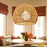 Pendelleuchte Rustikalen Rattan Balkon Lampen Hand Gewebt Rattan Pendelleuchten E27 Licht Stehen (Glühbirne Nicht im Lieferumfang Enthalten)
