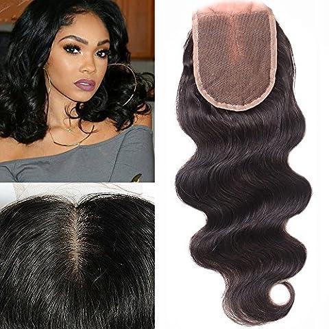 My-Lady® Tissage Bresilien Ondule Top Lace Closure 4*4 - Extensions de cheveux humains vierges (#1B Noir Naturel,