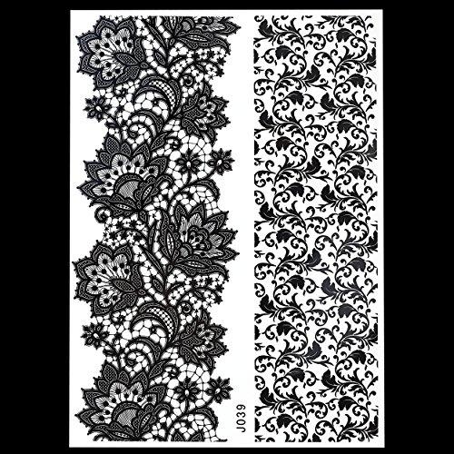 MANDALA NOIR tatouages temporaires au henné Henna pour le corps bj039