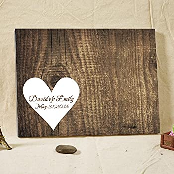 hochzeit g stebuch personalisierte rustikales holz leinwand g stebuch alternative hochzeit. Black Bedroom Furniture Sets. Home Design Ideas