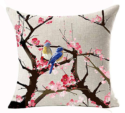 Beautiful Pink Peach Blossom Magpie Stands on The Branches Cotton Linen Decorative Throw Pillow Case Cushion Cover Square 18