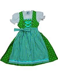 Baumwoll Kinderdirndl MUCKI 3-tlg. Komplett-Set von Isar-Trachten kiwigrün-türkis