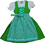 Baumwoll Kinderdirndl MUCKI 3-tlg. Komplett-Set von Isar-Trachten kiwigrün-türkis, Farben:grün;Größen:122