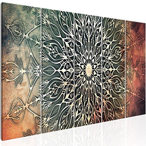 murando - Cuadro en Lienzo Mandala 225x90 cm - Impresion en Calidad fotografica - Cuadro en Lienzo Tejido-no Tejido – 5 Partes – Oriente f-A-0662-b-n