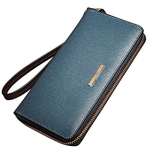 92e45338a0acb Oneworld Herren Rindleder Clutch Handyetui Universalbörse Geldbörse Börse  Geldbeutel Geldtasche Portemonnaie 195x105x25cmBxHxT Blau