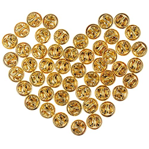 Gegenstücke für Anstecknadeln von Lukupone, Metall, 50 Stück, Ersatzverschlüsse für Anstecknadeln, Pins und Abzeichen gold