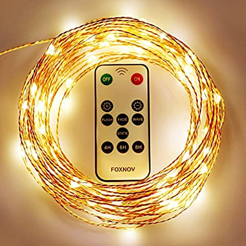 FOXNOV Waterproof IR Receiver&Power Adapter 2 in 1, 33Ft 100 LED Copper Fairy String Lights, Warm White
