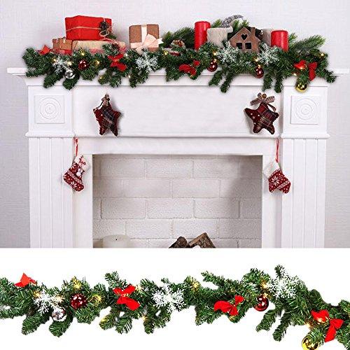 HG® 2x 100 Energiesparenden LEDs Warmweiß Weihnachtsgirlande Girlande Heiliger Abend Weihnachtsdekoration für In-/ Outdoor Bereich Kunststoff Zweige Mit Trafo