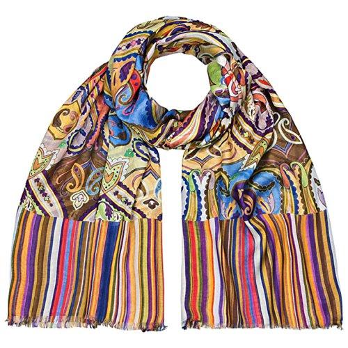 Maharanis Designer Webschal groß Pareo 100 x 200 cm Regenbogen Mustermix