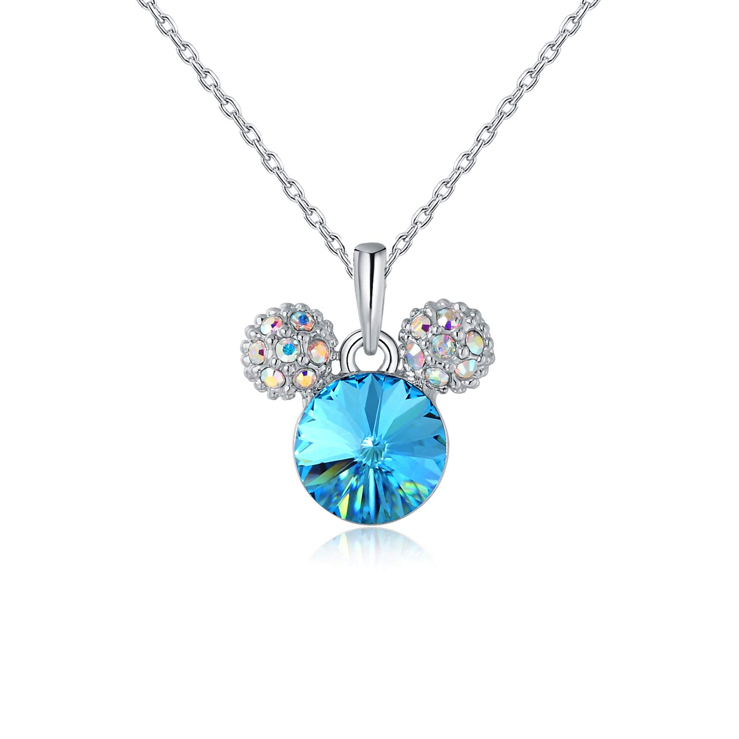 HERMOSO Lovely Mouse Pendant Necklace for Girls/Womens,Made with Swarovski Crystal, Choker Chain 16+2inch Jewellery