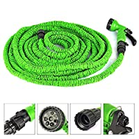 DLLL Expanding Flexible Home Garden Water Hose/Magic Flexible X Garden Water Hose With Spray Gun Car Wash Pipe Retractable Watering Telescopic Rubber Hose (15M, Green)
