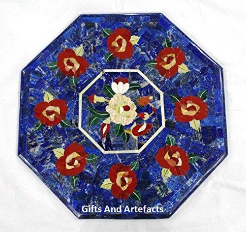 Gifts And Artefacts 38,1 cm Octagon Lapis Lazuli aléatoire Marbre Incrustation Dessus de Table à café Motif Fleur Rouge