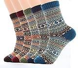Ueither 5 Paar Unisex Wollsocken – Baumwollsocken – Stricksocken | für Männer & Frauen | Vintage Stil | Warme Crew Socken für Herbst & Winter