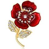 YONGHUI Broche de amapola roja con diamantes de imitación para mujer, abrigo, bufanda, chal, insignias, regalo de recuerdo