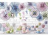 Partyset Komplettset bunt Pastel Farbe 104 teilig für 12 Personen Partygeschirr Geburtstag Kindergeburtstag Teller Becher Servietten Party Deko rosa