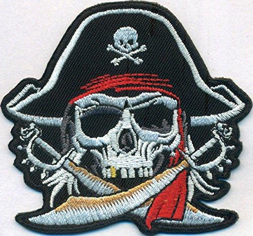 Piratenkopf Pirat Kapitän Captain gekreuzte Sebel Totenkopf Kostüm Aufnäher ()