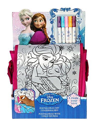 Preisvergleich Produktbild Undercover FRQA2410 - Postmanbag zum Bemalen Disney Frozen inklusive 5 Fasermalern, circa 27 x 24 x 7 cm