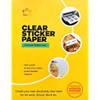 True-Ally Transparent Clear Sticker Paper for Laser Printer A4 Size (50 Sheets) - Printable Sheets - DIY Personalized…