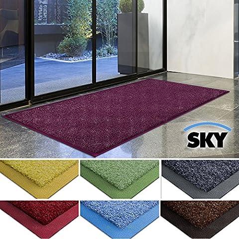 casa pura® Dirt Trapper Barrier Mat with Matching Rubber Edge - Purple, 50 x 85cm - Non-slip, Absorbent