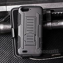 ZTE Blade V6 / D6 / X7 Carcasa, Cocomii® [HEAVY DUTY] ZTE Blade V6 / D6 / X7 Robot Case **NUEVO** [ULTRA FUTURO ARMOR] Premium Funda Con Clip Para Cinturón Pata De Cabra Kickstand Bumper Case [DEFENSOR MILITAR] De Todo El Cuerpo Híbrido Doble Capa Resistente Cubierta Protectora Cover Bumper Case [COCOMII GARANTÍA] ::: La Mejor Protección Frente A Caídas Y Las Repercusiones De Su ZTE Blade V6 / D6 / X7 ::: ★★★★★ (Black/Black)