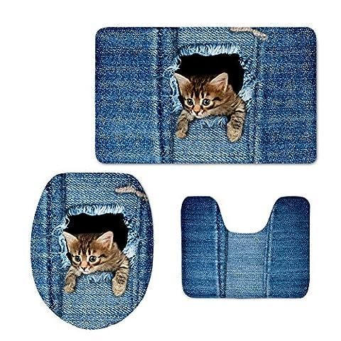 Coloranimal Cute Denim Imprimé Chat Chien Tapis de bain Ensemble de contour Tapis avec housse d'abattant WC 3pièces Moderne cat pattern-1