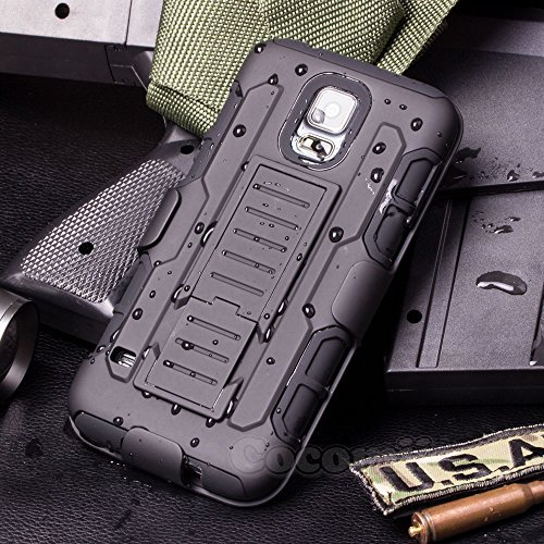 Galaxy S5 Mini Coque, Cocomii Robot Armor NEW [Heavy Duty] Premium Belt Clip Holster Kickstand Shockproof Hard Bumper Shell [Military Defender] Full Body Dual Layer Rugged Cover Case Étui Housse Samsung G800 (Black)