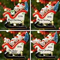 Personalised Family Christmas Xmas Tree Bauble Decoration Ornament | Sleigh Family | Groups 2,3,4 & 5