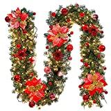 Weihnachtskranz Garland mit Lichterkette, Zhen + Rattan-Dekoration Garland Kranz Weihnachtsschmuck Weihnachtsfeier Geschenk Innen und Außendekoration, Garland 270cm Lichter 500cm (C)
