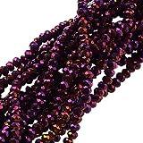 nbeads 10Strähnen galvanisiert Glas Perlen, voll violett versilbert, facettiert, Abacus, lila, 2,5x 2mm, Loch: 1mm