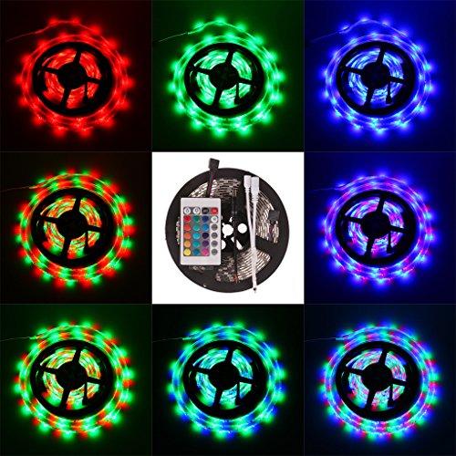 Bloomwin - Iluminación Banda Tira LED Adhesiva Multicolor 16 Colores Alterable 5M 300 3528 SMD + Mando (24 teclas) + 2A Transformador