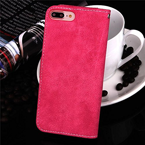 JIALUN-étui pour téléphone Matte Surface en cuir PU, fermeture magnétique Housse Flip Stand avec carte à main Courre Slot Cash pour IPhone 7 Plus ( Color : Black , Size : IPhone 7 Plus ) Rose