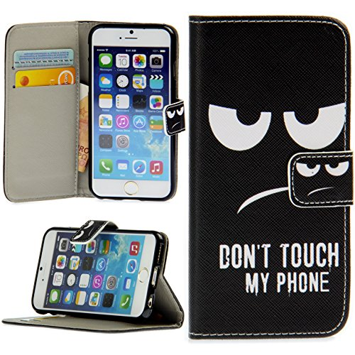 Handy Lux® Schutz Hülle Tasche Kartenfächer Flip Case Etui Cover Involto Motiv Design Hülle BookStyle (Apple iPhone 5 / 5S / SE, Gameboy) Don't touch my Phone