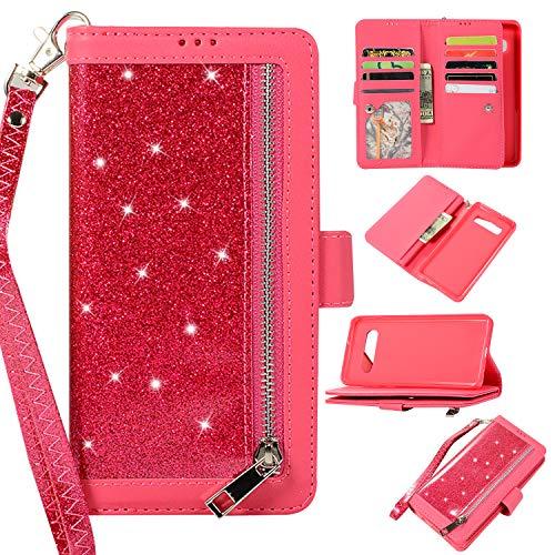 us Hülle Handyhülle,PU Lederhülle Glitzer Magnetverschluss Kartenfächern Standfunktion Cover Brieftasche Flip Wallet Cover für Samsung Galaxy S10 Plus,Rose Rot ()