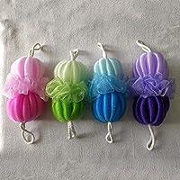 Kaige Bola de baño gradualmente cambiante color tira bola doble baño flor del baño limpieza baño toalla atrás de flor tire uno paquete de cuatro Piezas
