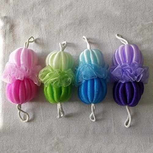 MAFYU Duschzubehör Bad ball allmählich ändernden Farbe Bad Streifen Doppelkugel Bad Blume Blume ziehen zurück Handtuch eine Packung vier Bad schrubben Stücke (Zurück Caddie)