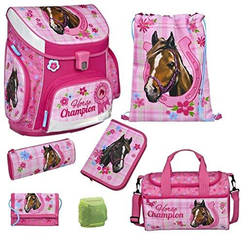 Familando Horse Champion Pferde Schulranzen Set 7tlg. Scooli Campus Up Sporttasche Federmappe gefüllt HCAM8252