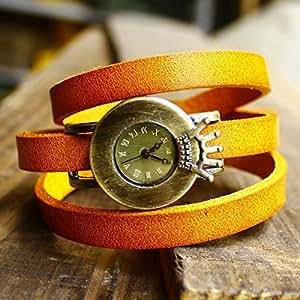 Montre couronne de punk 3 anneau bande de cuir de vache -(orange)