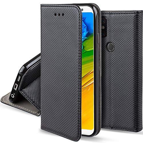 Moozy Hülle Flip Case für Xiaomi Redmi Note 5, Redmi Note 5 Pro, Schwarz - Dünne Magnetische Klapphülle Handyhülle mit Standfunktion
