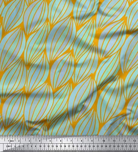 Soimoi Gold Seide Stoff Blätter kunstlerisch Stoff drucken Meter 42 Zoll breit