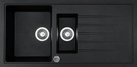 Granitspüle V1000 schwarz inkl. Drehexcenter Ab- und Überlaufgarnitur reversibel ab 60 er Unterschrank mit Restebecken u. Siebkorbventil