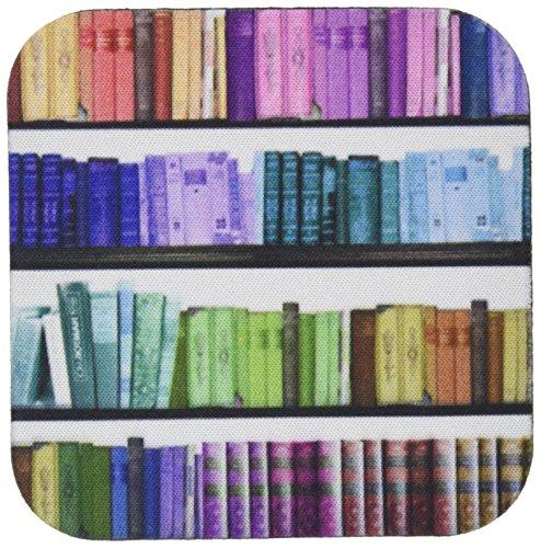 3dRose CST 112957_ 1farbig Bücherregal Bücher Rainbow Regale Buch Geek Bibliothek Nerd Bibliothekar Autor Weich Untersetzer, 4Stück (Bücherregal-regale-bibliothek)
