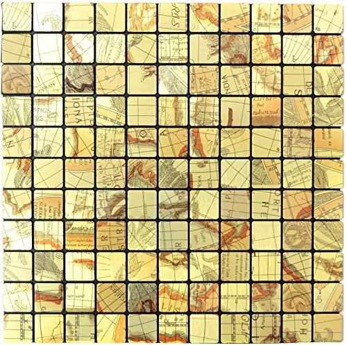 Mosaik Fliese selbstklebend Aluminium gold metall Weltkarte Gold für WAND KÜCHE FLIESENSPIEGEL THEKENVERKLEIDUNG Mosaikmatte Mosaikplatte