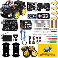 ELEGOO Smart Robot Car Kit V3.0 Plus Compatible with Arduino IDE with UNO R3 Board, Line Tracking Module, Ultrasonic Sensor, IR Module, Intelligent & Educational Toy Car Robotic Kit for Kid Teen Adult