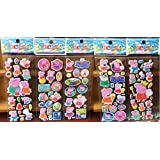 Stickers PVC Cute Mini 3D Peppa Pig Stickers (Multicolour) - Set of 5