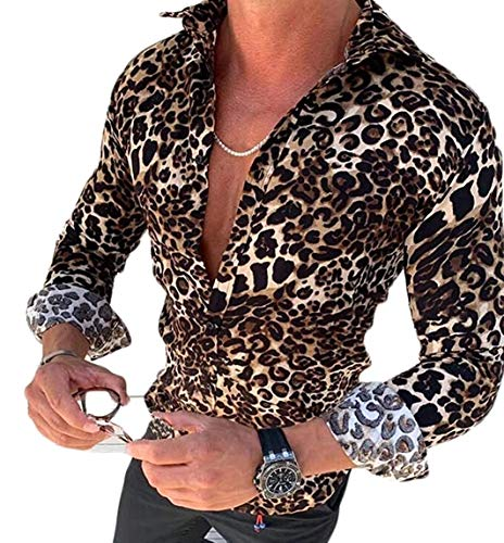 LIKEVER Camisa de Leopardo de Corte Regular para Hombre, Manga Larga, Casual, con Botones, Blusas, Blusas, Ropa de otoño Leopardo M