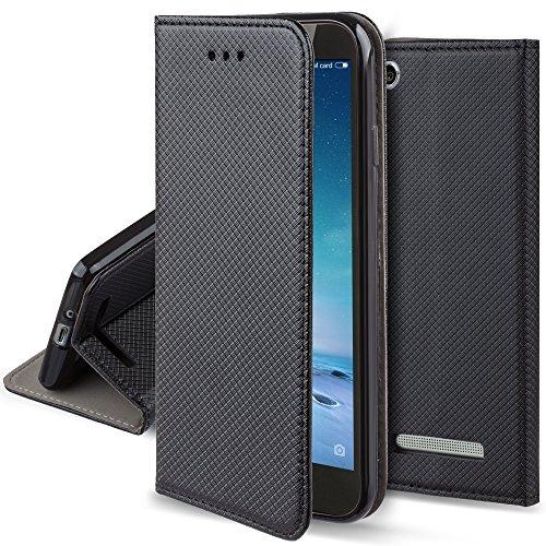 Moozy Hülle Flip Case für Xiaomi Redmi 4a, Schwarz - Dünne magnetische Klapphülle Handyhülle mit Standfunktion