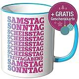 Wandkings® Tasse, Spruch: SAMSTAG SONNTAG SCHEISSTAG ... - BLAU
