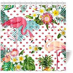 Violetpos Top Qualität Anti-Schimmel Duschvorhang Digitaldruck für Badezimmer Badvorhänge Tropische Pflanzen und blumen - polka - Rosa flamingos. 150 x 180 cm